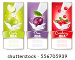 set of three labels of fruit in ... | Shutterstock .eps vector #556705939