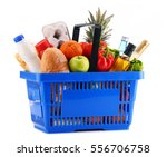 plastic shopping basket with... | Shutterstock . vector #556706758