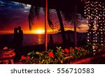 beautiful couple at sunset on...   Shutterstock . vector #556710583