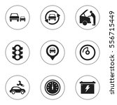 set of 9 editable car icons.... | Shutterstock .eps vector #556715449