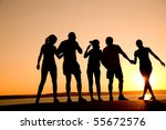 group of happy young people... | Shutterstock . vector #55672576