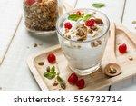 homemade yogurt or sour cream... | Shutterstock . vector #556732714