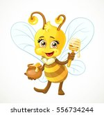 cute bee with clay pot full of... | Shutterstock .eps vector #556734244