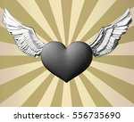 monochrome engraving heart and... | Shutterstock .eps vector #556735690