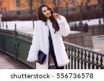 Happy Joyful Girl In White Fur...