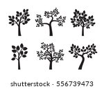 Set Black Trees. Vector...