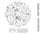 hand drawn wine set icons.... | Shutterstock .eps vector #556742068