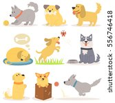 Stock vector vector set of funny cartoon dogs characters illustration 556746418