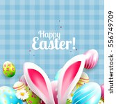 cute easter greeting card with... | Shutterstock .eps vector #556749709