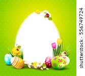 cute easter background with... | Shutterstock .eps vector #556749724