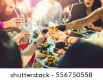 group of partying girls... | Shutterstock . vector #556750558