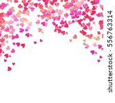 pink heart shaped confetti and... | Shutterstock .eps vector #556763314