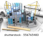 3d illustration of building... | Shutterstock . vector #556765483