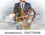 double exposure of businessman... | Shutterstock . vector #556774348