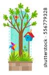 tree in spring   clip art of... | Shutterstock .eps vector #556779328