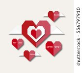 paper style heart with wings | Shutterstock .eps vector #556797910