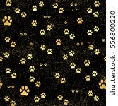 gold paw print  seamless.... | Shutterstock .eps vector #556800220