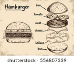 hamburger ingredients with meat ... | Shutterstock .eps vector #556807339