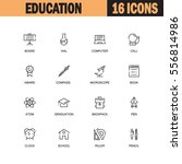 education flat icon set set.... | Shutterstock .eps vector #556814986