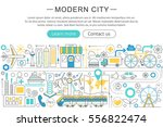 flat design modern smart city... | Shutterstock .eps vector #556822474