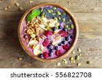 smoothie bowl with fresh... | Shutterstock . vector #556822708