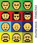 pixel faces of some game boy | Shutterstock . vector #55682563