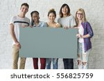 group of friends holding blank... | Shutterstock . vector #556825759