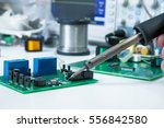 electronic working place with... | Shutterstock . vector #556842580
