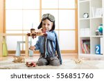 child dressed like pilot... | Shutterstock . vector #556851760