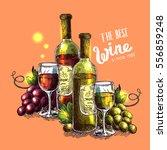 vector illustration with wine.... | Shutterstock .eps vector #556859248