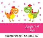 cute dinosaur couple in love | Shutterstock .eps vector #55686346