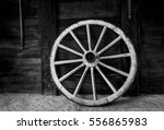 Old Wagon Wheel At A Farm