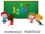 numbers and kids at school... | Shutterstock .eps vector #556870210