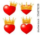 set of love hearts in golden... | Shutterstock .eps vector #556878238