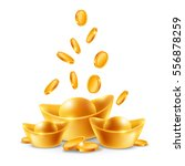 chinese golden ingots and coins ... | Shutterstock .eps vector #556878259