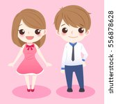 Cute Cartoon Couple Stand And...