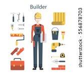 isolated female builder on... | Shutterstock . vector #556878703