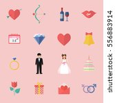 valentines day icon set. vector ... | Shutterstock .eps vector #556883914