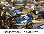 audio guide with headphones. | Shutterstock . vector #556883998