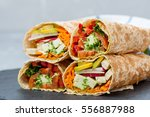 healthy vegan salad tortilla... | Shutterstock . vector #556887988
