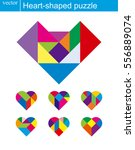 vector heart puzzle pattern... | Shutterstock .eps vector #556889074