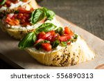 tomato and cheese fresh made... | Shutterstock . vector #556890313