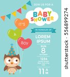cute owl with balloons for baby ... | Shutterstock .eps vector #556899274