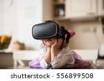 child dreaming with virtual... | Shutterstock . vector #556899508