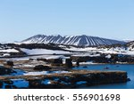 Myvatn Volcano Over Blue Lake...