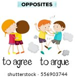 opposite words for agree and... | Shutterstock .eps vector #556903744
