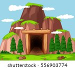 mine entrance at the mountain...   Shutterstock .eps vector #556903774