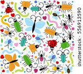colorful happy insects pattern... | Shutterstock .eps vector #556913590