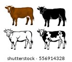 Stock vector cow in brown color silhouette contour and patched silhouette set 556914328
