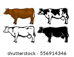 Cow In Brown Color  Silhouette...
